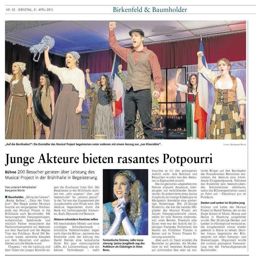 Das Musical Project gastiert erstmals in Baumholder.